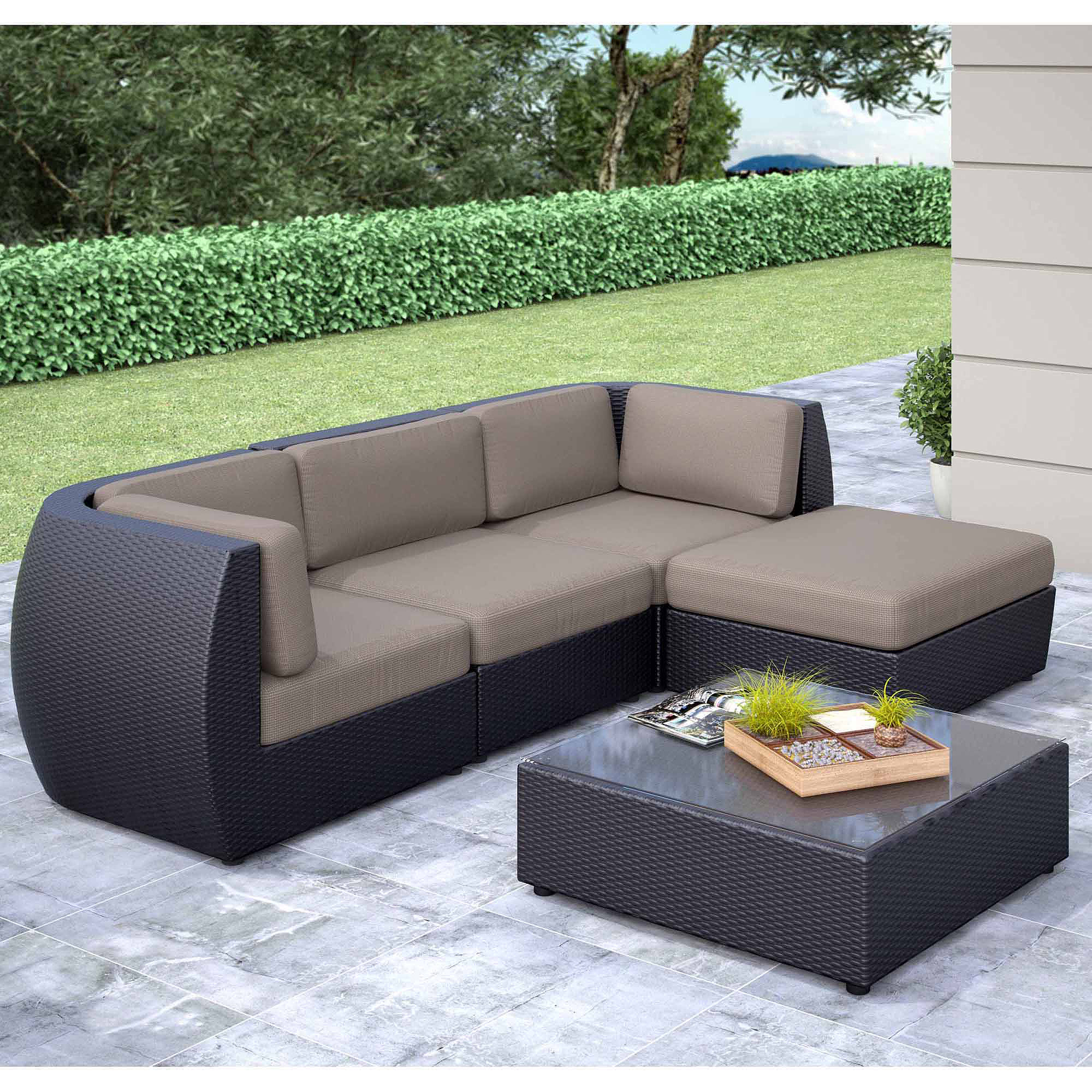 CorLiving Seattle Curved 5-Piece Sofa with Chaise Lounge Patio Set