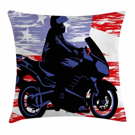 Room Decor Throw Pillow Cushion Cover Man On Motorcycle Riding American Flag Backdrop National Usa Grunge Image Decorative Square Accent