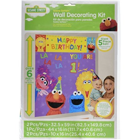 "Amscan Sesame Street 1st Birthday Party Scene Setter Wall Decorating Kit, Plastic, 59"" X 65"", Pack of 5 Party Supplies"