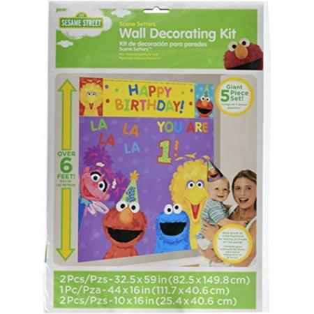 - Amscan Sesame Street 1st Birthday Party Scene Setter Wall Decorating Kit, Plastic, 59