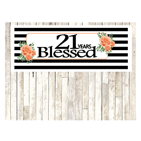 Number 21- 21st Birthday Anniversary Party Blessed Years Wall Decoration Banner 10 x 50inches - Things To Do For 21st Birthday