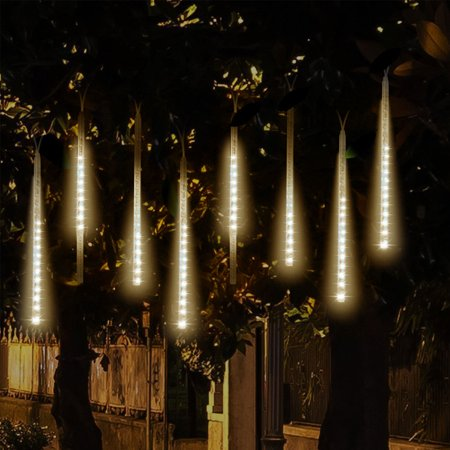 TSV LED Falling Rain Lights with 30cm 8 Tube 144 LEDs, Meteor Shower Light, Falling Rain Drop Christmas Lights, Icicle String Lights for Holiday Party Wedding Christmas Tree Decoration ()