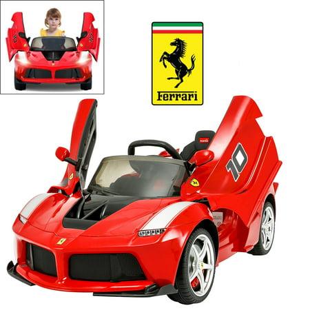 Licensed Ferrari Laferrari FXX K Electric Ride On Car for Kids with 2.4 G Remote Control, 12V 2 Motors, Openable Door, Leather Seat, Led Light & MP3 Socket, DIY Car (Latest Ferrari Price)