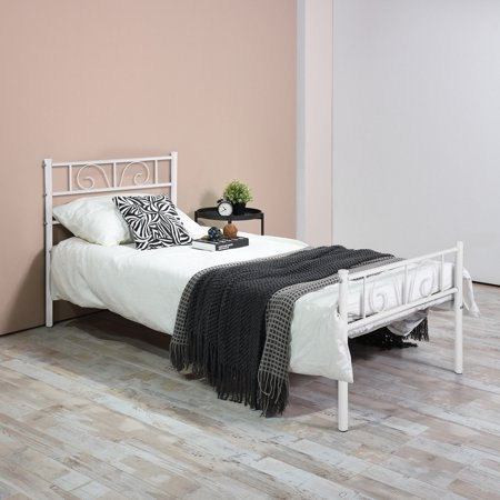 Platform Metal Bed Frame Foundation Headboard Furniture Bedroom Twin Full Size ()