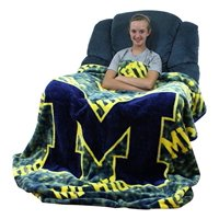 "College Covers Fan Shop Throws Michigan Wolverines 63"" x 86"" Soft Raschel Throw Blanket"