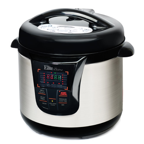 Elite Platinum 8Qt. Electric Stainless Steel Pressure Cooker w/ 17 Function Digital Display, Red/Stainless Steel