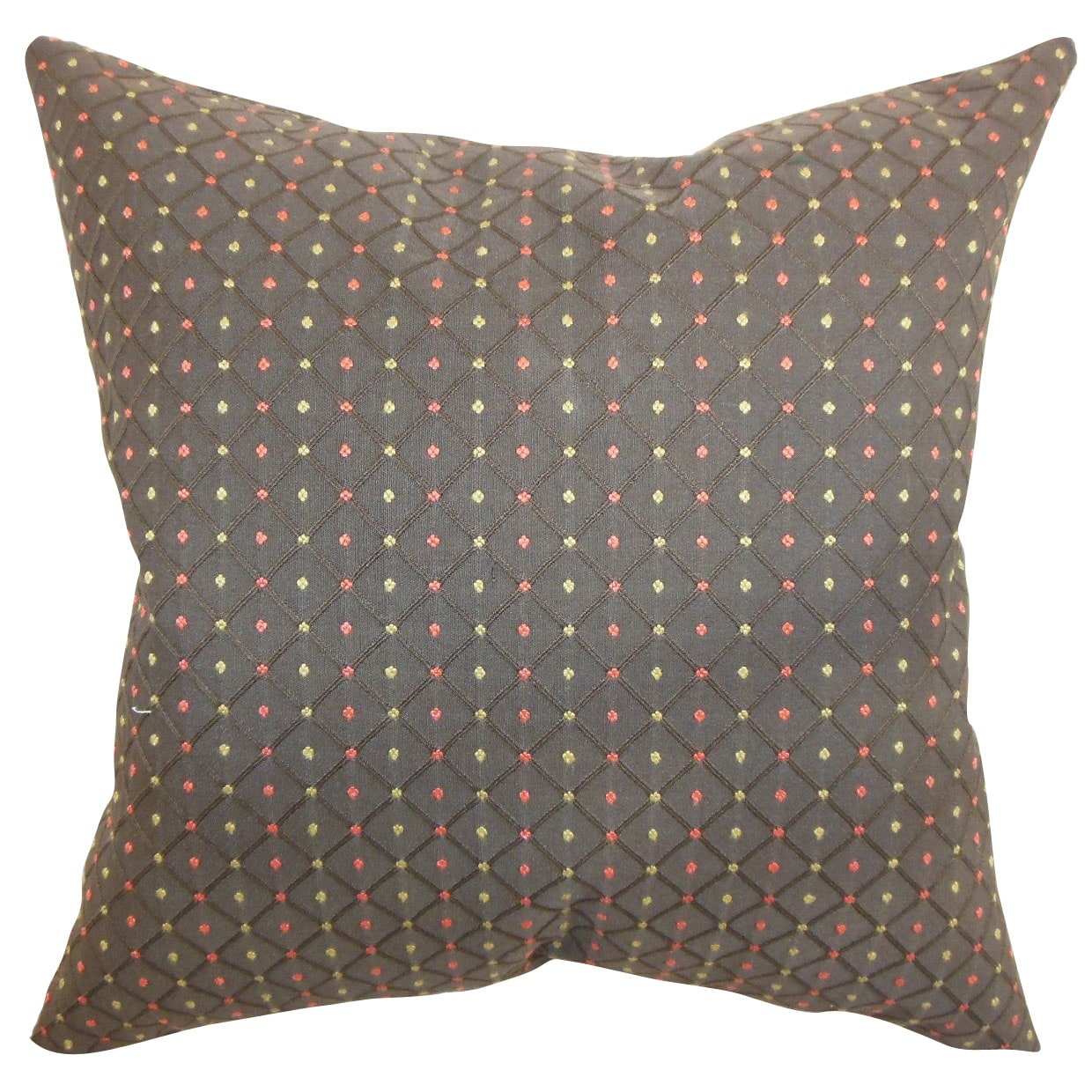 The Pillow Collection Ocelfa Brown Dots Feather and Down Filled Throw Pillow