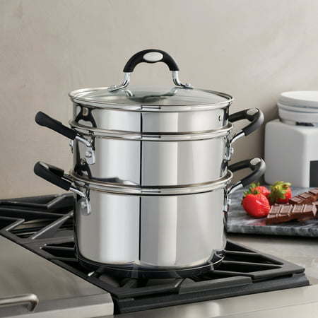 Tramontina Stainless Steel 3 Quart Steamer & Double-Boiler, 4 Piece