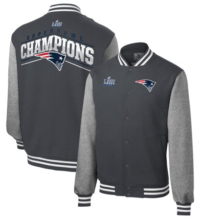 New England Patriots NFL Pro Line by Fanatics Branded Super Bowl LIII Champions Out of Bounds Varsity Jacket- Heather Gray/Black