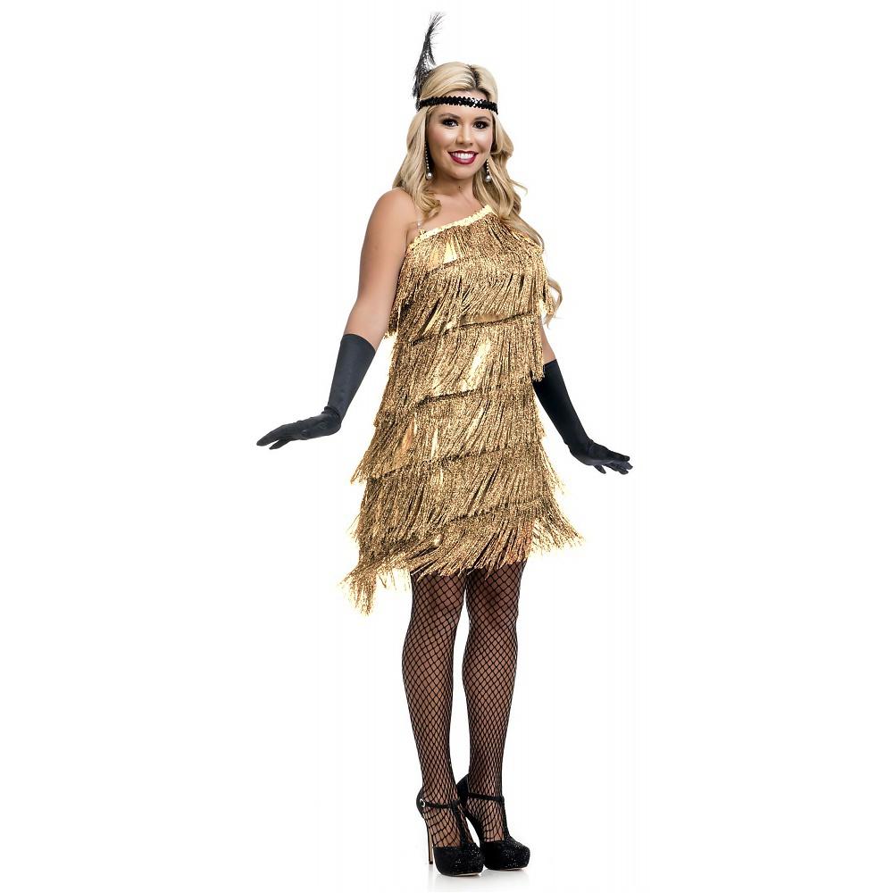 Slant Fringe Flapper Adult Costume Gold - Small
