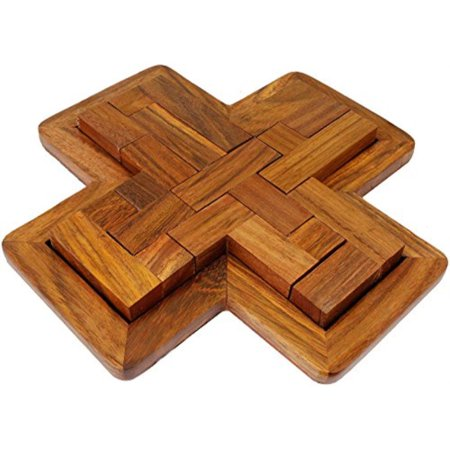 Skavij Indian Handmade Wooden 9 Pieces Pentominoes Puzzle Brain Teasers Creative Educational Toys Game For Gifts 7