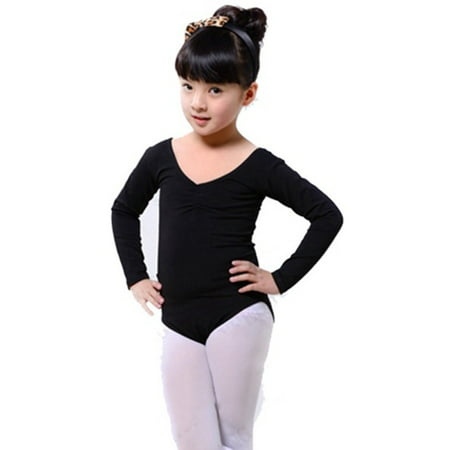 Kid Girls Long Sleeve Ballet Dance Dress Fitness Gymnastics Wear Leotard Costume (Ready To Ship Dance Costumes)