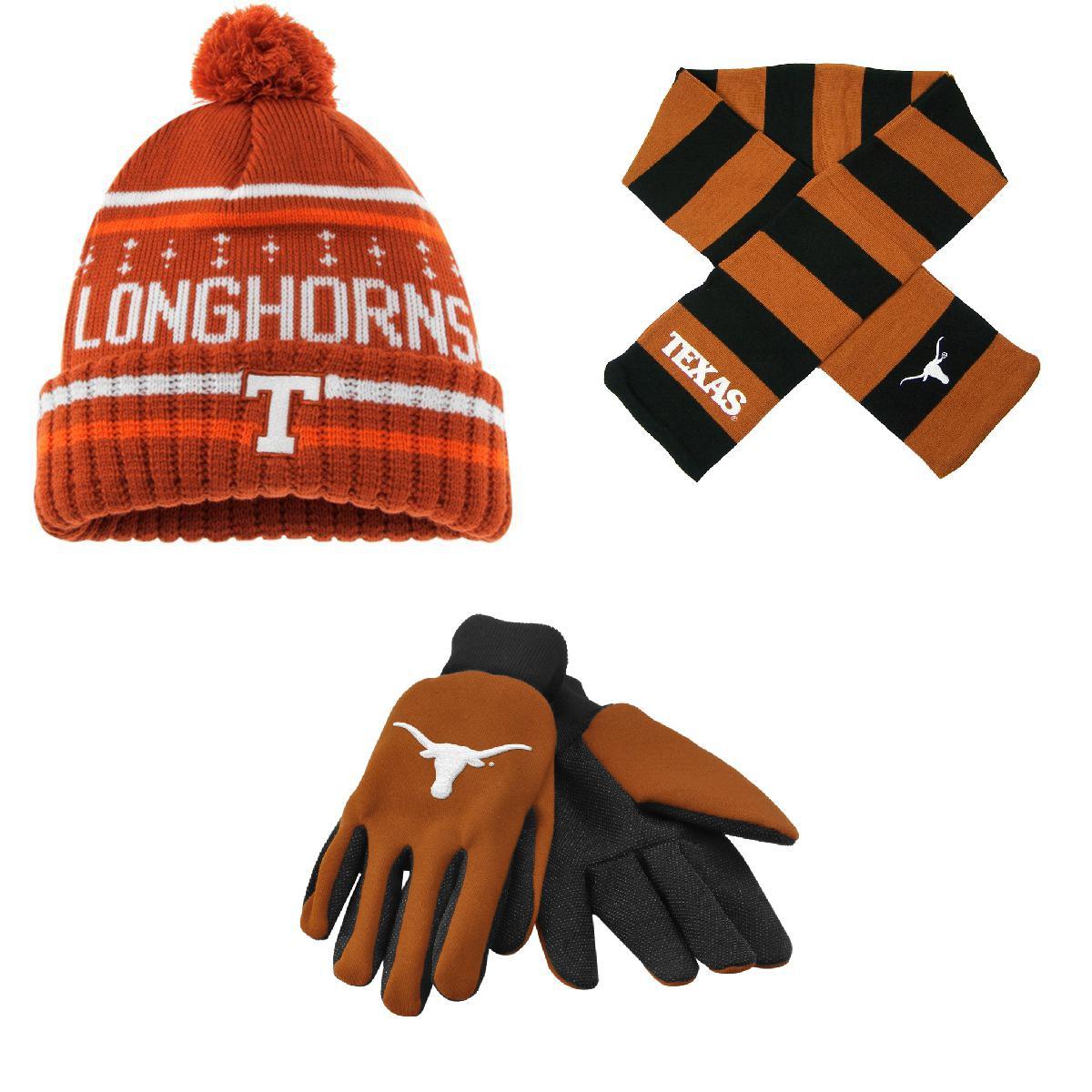 NCAA Texas Longhorns Grip Work Glove Barometer Beanie Hat And Striped Rugby Scarf 3 Pack Bundle