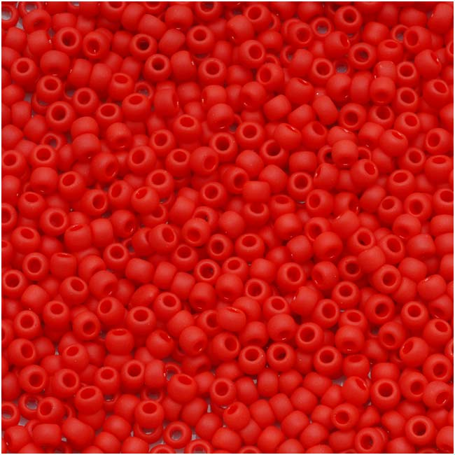 Toho Round Seed Beads 11/0 #45AF 'Opaque Frosted Cherry' 8g