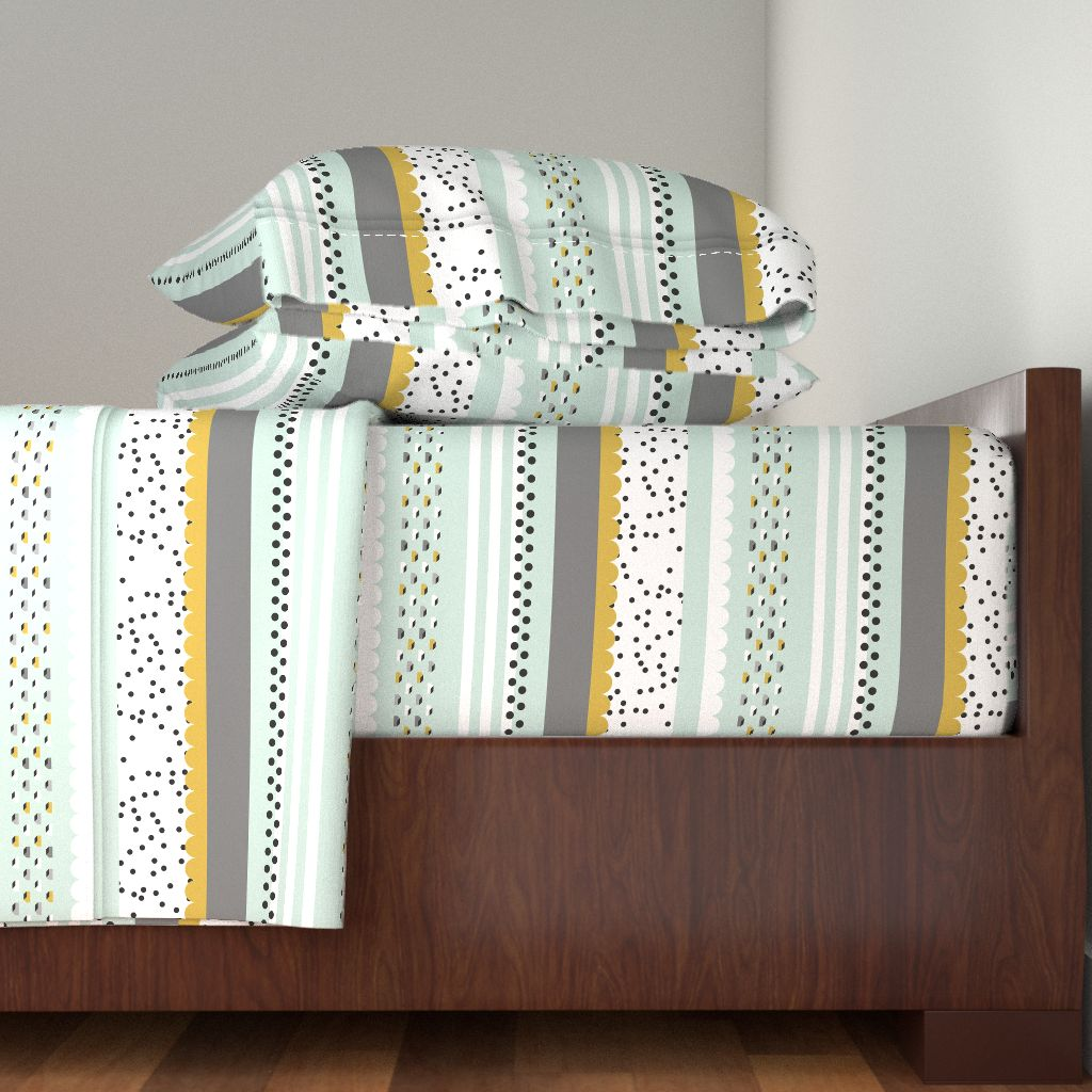 Mod Mint Houses Polka Gold Mustard 100% Cotton Sateen Sheet Set by Roostery