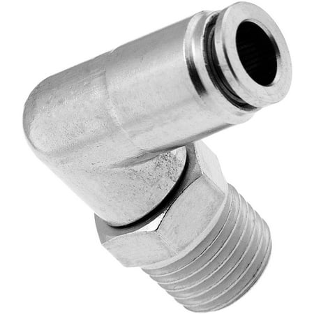 """Vixen Air 1/4"""" NPT Male to Push to Connect (PTC) for 1/4"""" OD Hose Swivel Elbow VXA2424"""