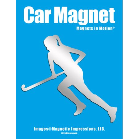 Field Hockey Player Run Car Magnet Chrome