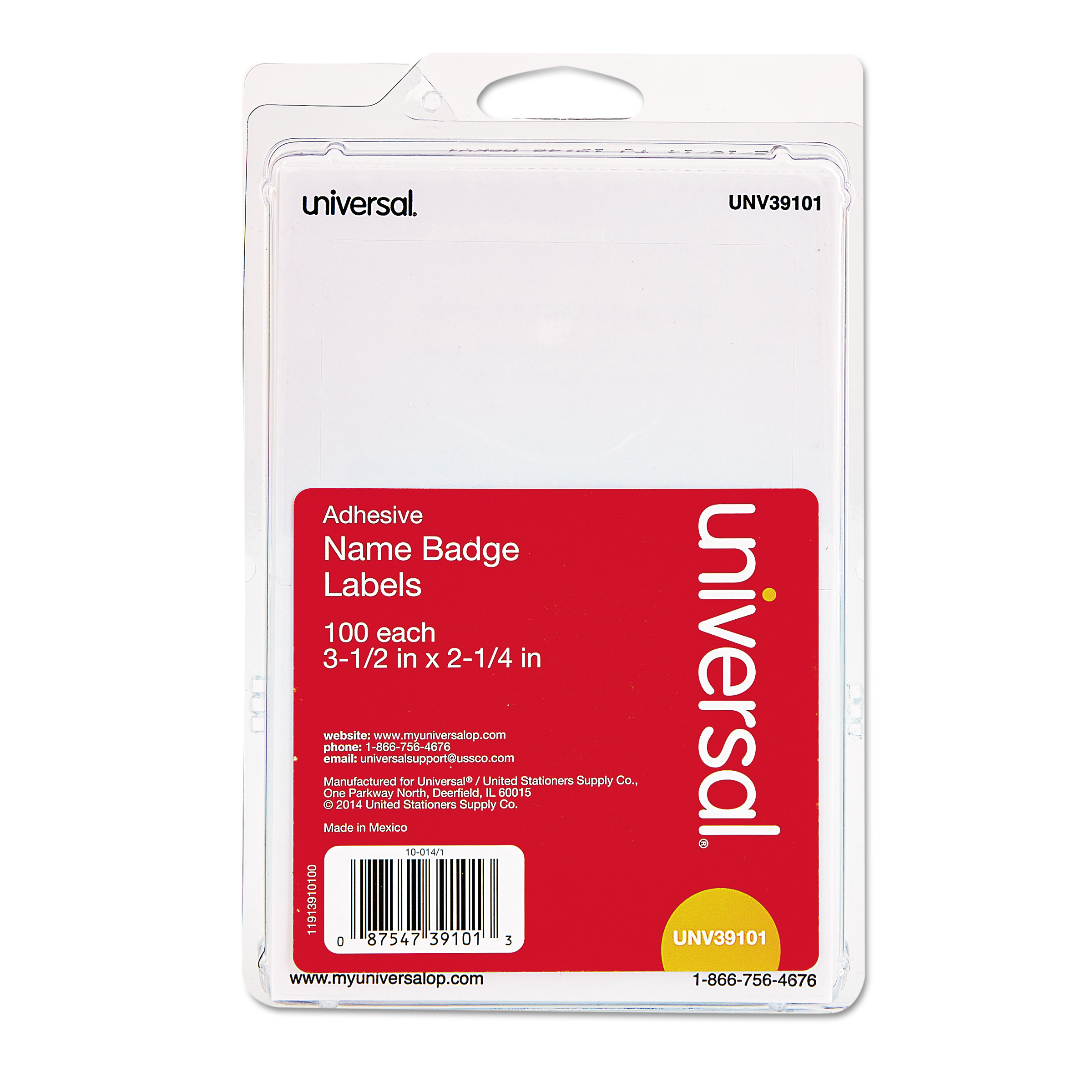 Universal Plain Self-Adhesive Name Badges, 3 1/2 x 2 1/4, White, 100/Pack -UNV39101