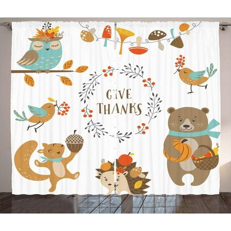 Kids Thanksgiving Curtains 2 Panels Set Giving Thanks Being Grateful C