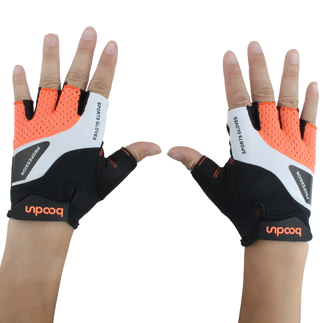 BOODUN Authorized Cycling Lifting Fitness Half Finger Gloves Orange L Pair