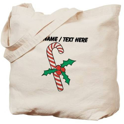 Cafepress Personalized Candy Cane With Holly Tote Bag