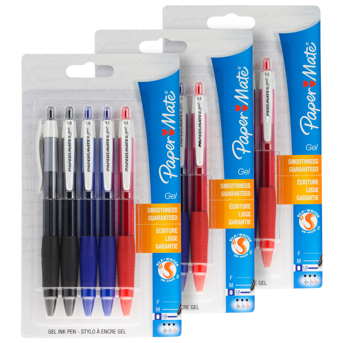 15ct Paper Mate Gel Ink Click Pens Sanford Retractable Smooth Rollerball Point