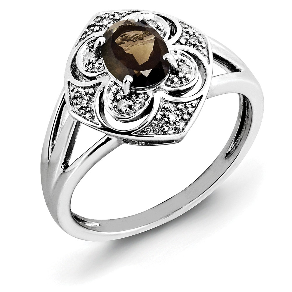 925 Sterling Silver Oval Smoky Quartz and Diamond Ring Size-7