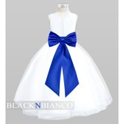 Black N Bianco Tulle Flower Girl Dress White w/ Colored Sash, Bow and Flower