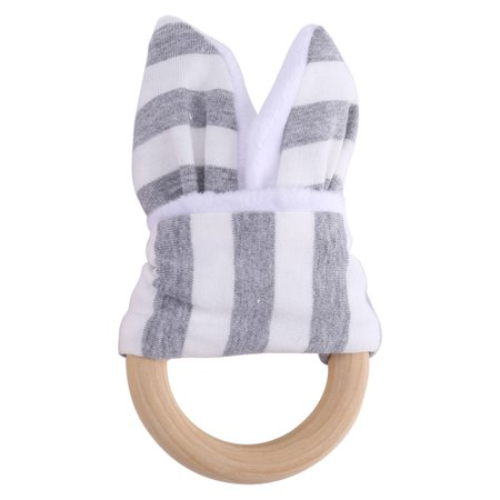 Wood Teething Rings Bunny Ear 2 pcs Teething Wooden Ring Gift Set Organic Baby Teether Toys(gray)