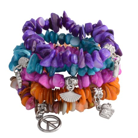 - Multi Color Shell Set of 5 Bracelet for Women Stretchable with Charm