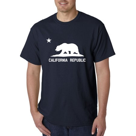 - Trendy USA 976 - Unisex T-Shirt California Republic Vintage Grizzly Bear Star Large Navy