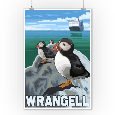 Puffins & Cruise Ship - Wrangell, Alaska - LP Original Poster (9x12 Art Print, Wall Decor Travel