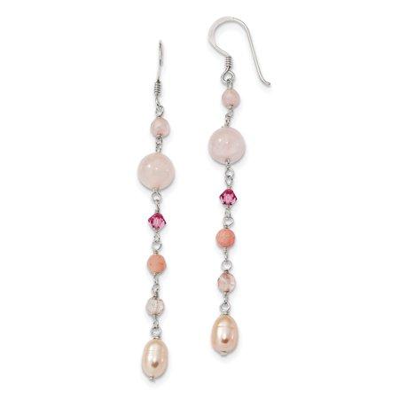 925 Sterling Silver Pink Fwpearl/cherryrose Quartz/pnk Jade/rosaline Shep.hook Drop Dangle Chandelier Earrings Gifts For Women For Her