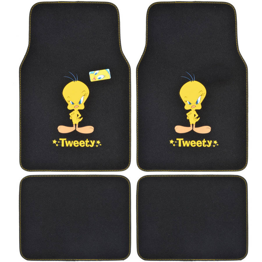 BDK Tweety Bird Carpet Floor Mats for Cars/Trucks, 4-Piece, Premium Quality, Original Logo