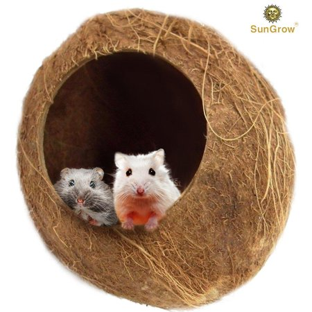 SunGrow Coconut Shell House for Hamsters - Pet Hiding House - The Perfect Hidey Hole for Mice, Rats, Gerbils - Adds Natural Look to Their Home - 100% Natural, Eco-Friendly