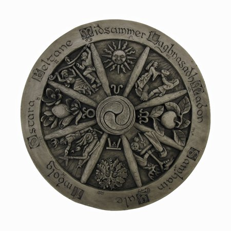 Wheel Of The Year Wood Finish Wall Hanging Wicca Pagan