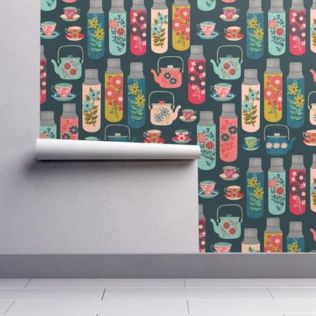 Flower Teapot (Wallpaper Roll or Sample: Thermos Vintage Floral Tea Teapot Flower)