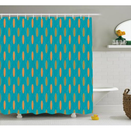 Retro Shower Curtain Wave Board Summer Pattern Design With Elliptic Shapes Abstract Sea Inspired Fabric Bathroom Set Hooks 69w X 75l Inches