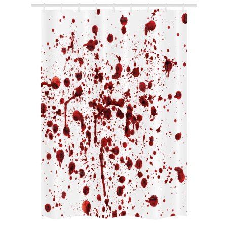 Horror Stall Shower Curtain, Splashes of Blood Grunge Style Bloodstain Horror Scary Zombie Halloween Themed Print, Fabric Bathroom Set with Hooks, 54W X 78L Inches, Red White, by Ambesonne - Halloween Themed Wedding Shower