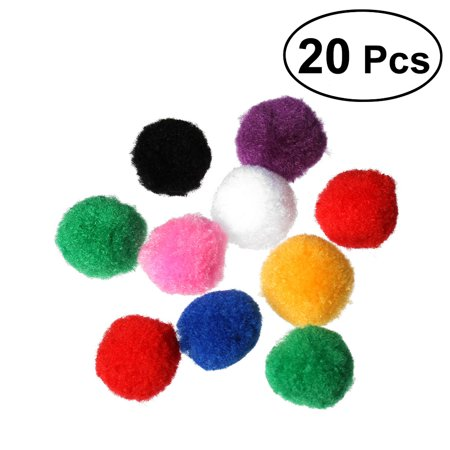4cm Assorted Pom Poms Kitten Toys Fluffy Balls for Home DIY Creative Crafts Decorations 20pcs (Mix Color) for $<!---->