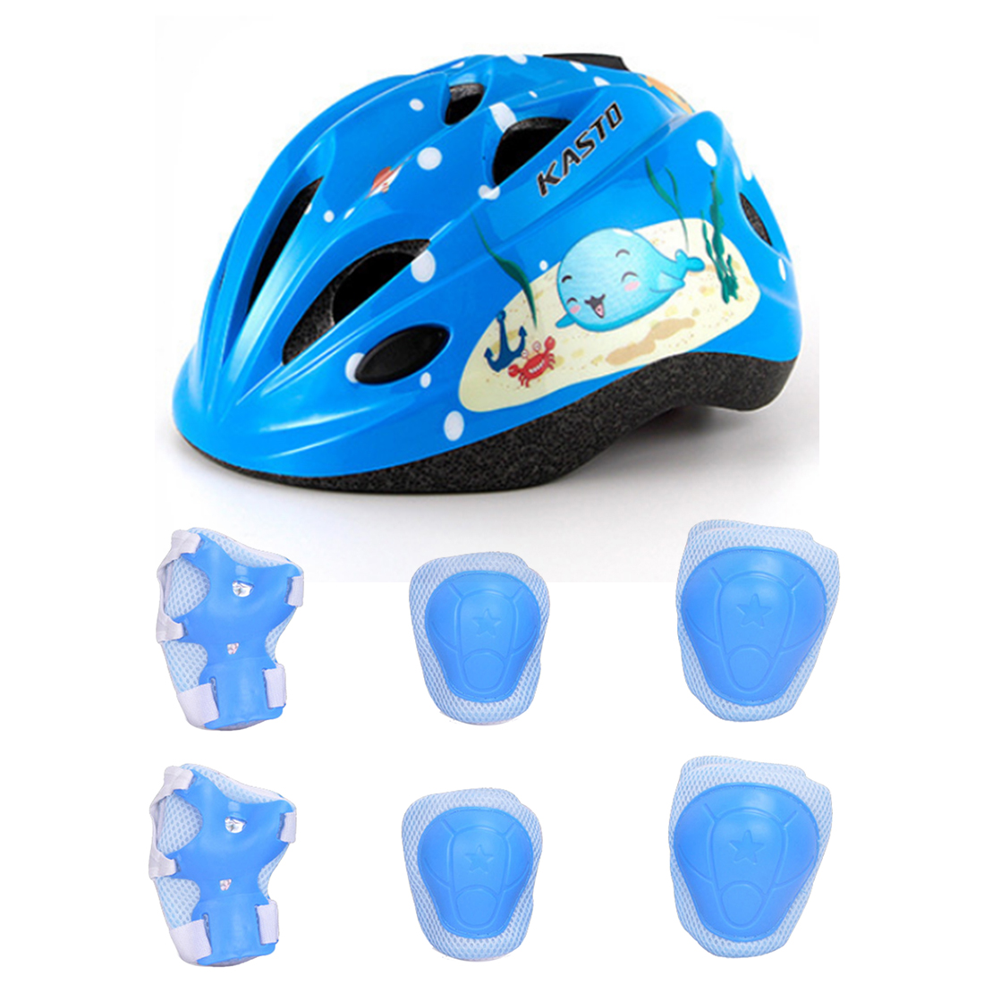 7Pcs Child Helmet Sport Safety Protective Body Gear Pad Set for Skating Bicycling Protection - Blue M