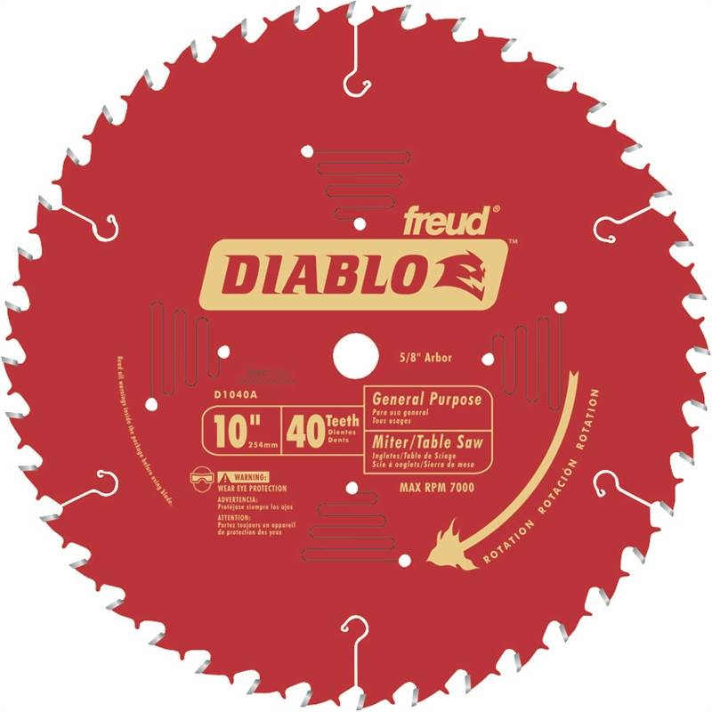 FREUD D1040A DIABLO 10-INCH 40-TOOTH ATB GENERAL PURPOSE SAW BLADE WITH 5/8-I