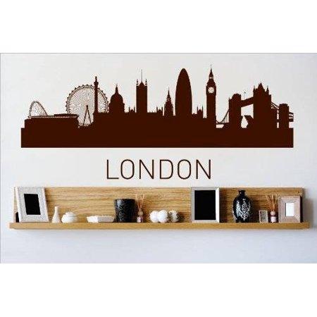 Custom Wall Decal Vinyl Sticker : London Skyline City View Beautiful Scene Landmarks Buildings Water Bedroom Bathroom Living Room 6x20