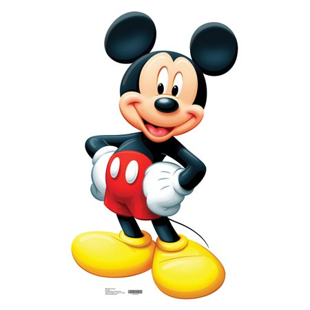 Large Mickey Mouse Cardboard Life Size Cutout Stand Disney Cutout Party Prop Decor Birthday party Supplies, Mickey Birthday decoration Size: 42
