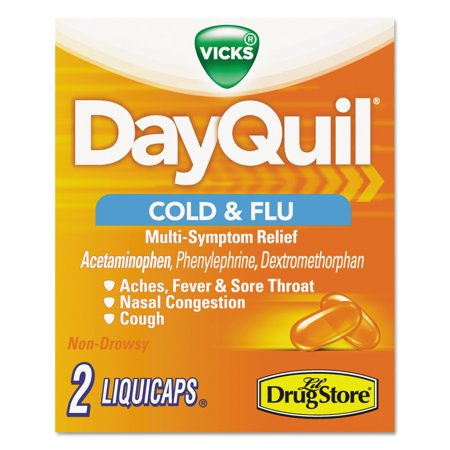 Dayquil Severe Cold   Flu Caplets  Daytime  Refill Pack  2 Caplets Packet  20 Packs Box