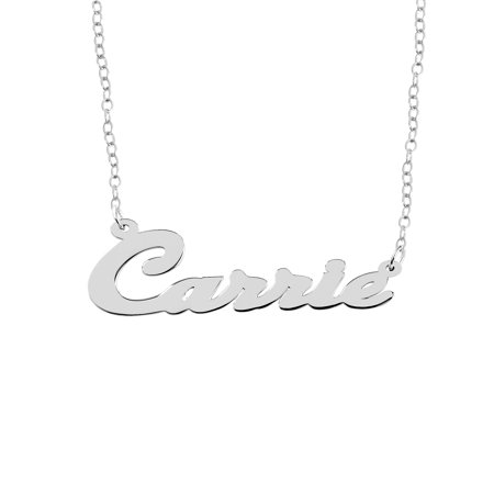 Personalized Sterling Silver Polished Script Single Nameplate Necklace With 18 inch Link (Single Chain Link)