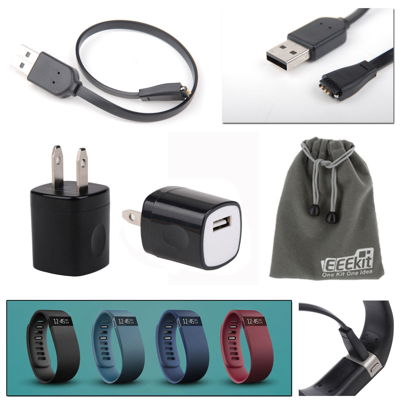 EEEEKit for Fitbit Charge/Force Wristband Fitness /Activity Tracker,Replacement Charger Cable+Wall Charger Adapter