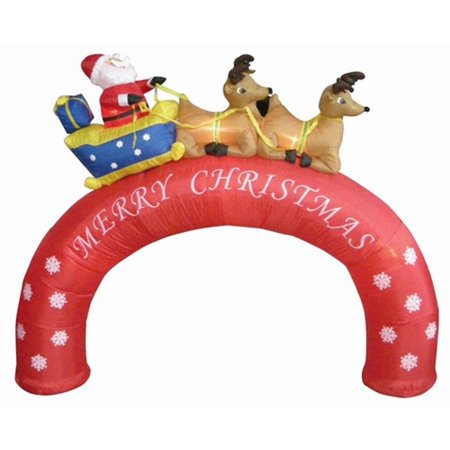 8' Inflatable Santa Sleigh Merry Christmas Arch Lighted Yard Art Decor