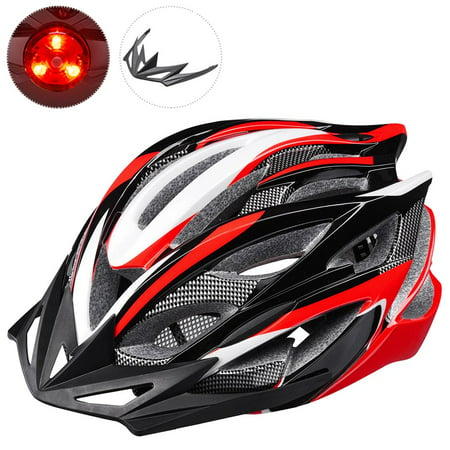 Yescom In-mold Bike Helmet CPSC w/ LED Light Detachable Visor 25 Vents Insect Mesh Adult MTB Road Cycling Color (Best Road Bike Helmet Under 100)