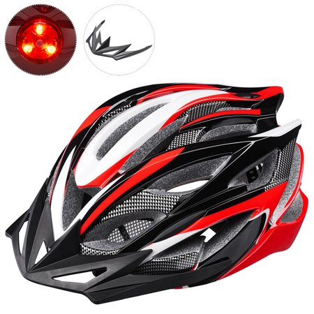 Yescom In-mold Bike Helmet CPSC w/ LED Light Detachable Visor 25 Vents Insect Mesh Adult MTB Road Cycling Color